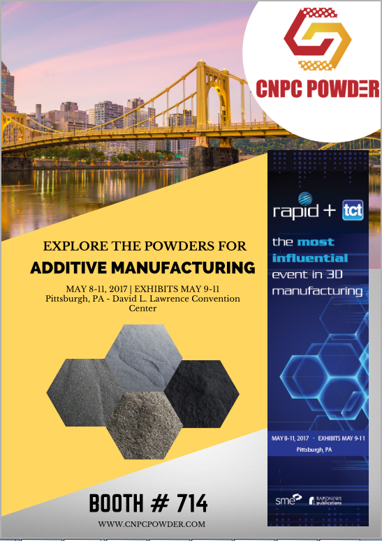 Just a few weeks to RAPID TCT + 2017 at the David L. Lawrence Convention Center, Pittsburgh, PA. May 8-11, 2017. We are looking forward to seeing you all at #3DPrinting #RAPIDevent! Visit our exhibit #714, and let us know more about your industry needs for metal powder.  https://lnkd.in/dHxFz4Y